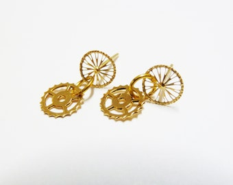 Bike Bicycle Earrings, Minimalist Earrings, made of 18k Gold Plated metal, bicycle jewelry, Unique Jewelry, Gift for her