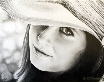 CUSTOM graphite pencil PORTRAIT - hand drawn portrait from your photo