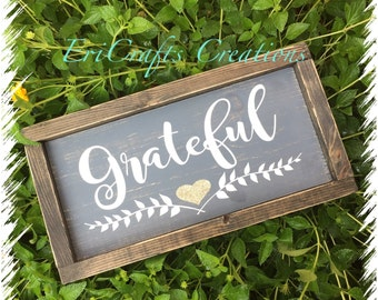 Grateful Handpainted Wood Sign with Glitter Heart Framed