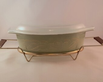 SALE - Sage Green with Gold Scroll Pyrex Casserole Dish with Lid and Carrier
