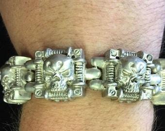 "Very Rare Sterling Silver Pushok Skull ""Rock Star"" Bracelet Very Heavy"
