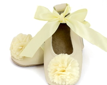 Cream / ivory ballet flats, flower girl shoes, baby wedding shoes, baby shower gift, birthday shoes, baby and toddler girl shoes