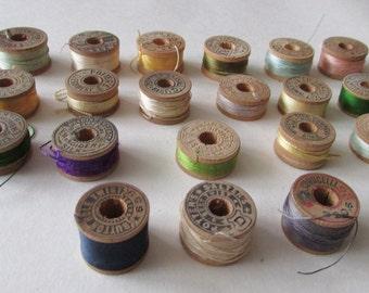 20 Button Hole Twist Vintage Lot Small Thread Spools