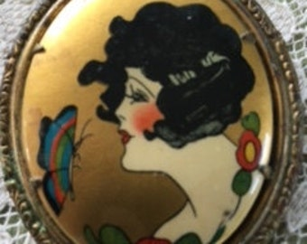 1920s Figural Lady Art Brooch