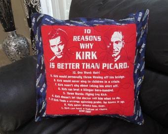 Star Trek, Captain Kirk, Captain Picard, 18 x 18 inch Pillow Cover