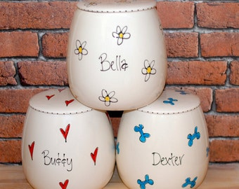 Large Hand painted personalised ceramic whimsical dog pet treat jar cannister