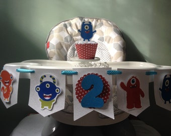 Monsters 1st or 2nd Birthday Party Highchair Banner