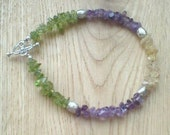 Chakra bracelet, spiritual bracelet, positive energy bracelet with amethyst, peridot, citrine semi precious gemstones, women's gift