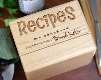 Personalized Engraved Solid Maple Kitchen Recipe Box