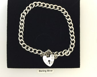 Sterling Silver Charm Link Bracelet with Padlock Clasp