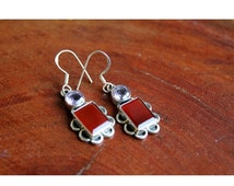 25% VALENTINES SALE Sterling Silver Amethyst Earrings, Red Onyx Earrings, Silver Filigree Earrings, 925 Sterling Silver Jewelry, Oxidized Si