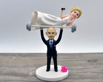 Unique wedding cake topper Weight Lifting Groom with Spotter Bride, Wedding Cake Topper, Personalized cake topper Custom bobblehead