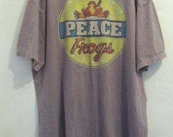 A Vintage 80's,PURPLE Made With a Fade PEACE FROGS T-Shirt.xl