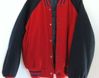 Marked Down 50%@@A SPORTY Vintage 80's,2 Tone WOOL Blend Athletic Coat.L