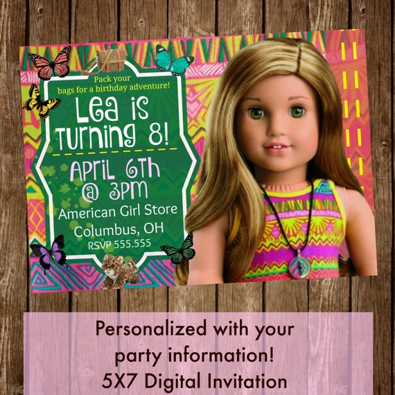 lea clark inspired american girl birthday party invitations and, Birthday invitations