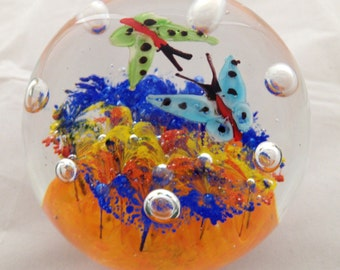 Colorful Round Hand Blown Glass Paperweight With Butterflies and Controlled Bubbles