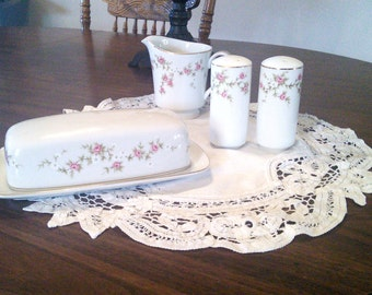 Fine China Rosette Pattern Butter Dish, Salt and Pepper Shakers and Creamer  Kitchen Dining Collectables