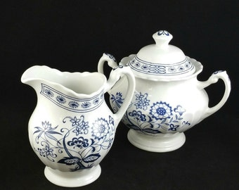 Vintage J & G Meakin Blue Nordic Ceramic Cream and Sugar Bowl Set, Blue And White Cream And Sugar Set