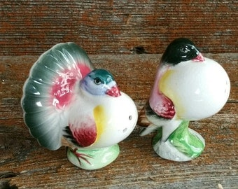 Vintage Ceramic Bird Salt And Pepper Shakers, Vintage Fantail Pouter Pigeon Bird Salt And Pepper Shakers,