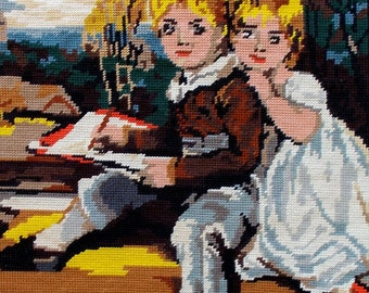 Vintage French Needlepoint Tapestry 'Les Engants, Children  (4653)