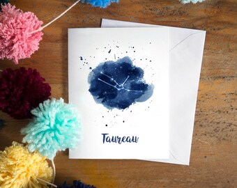 Taureau constellation | Taureau art | Taureau zodiac | personalized gift | astrology art | zodiac art print | star sign | sky | indigo blue