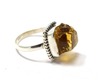 Citrine Rough 925 Sterling Silver Ring Yellow By AmoreIndia