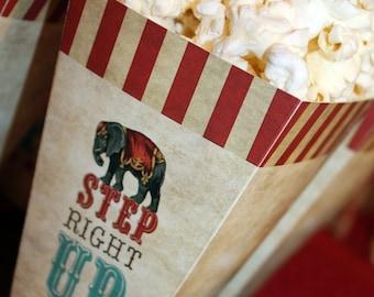 Step Right Up Popcorn Box, Circus Birthday Popcorn Box, Circus Popcorn Box, Circus Printables