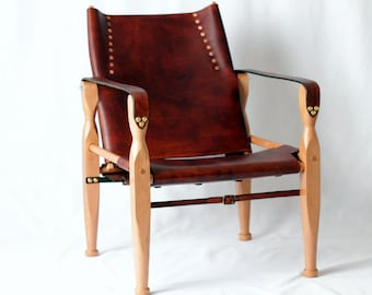 Safari Roorkhee Campaign Leather Wood Lounge Sling Chair Furniture