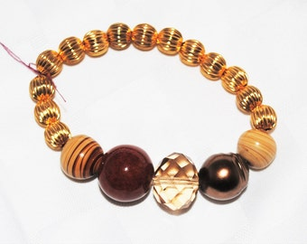 Brown and Gold Beaded Stretch Bracelet