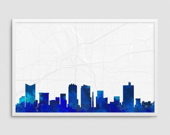 Fort Worth Texas Cityscape and Street Map Blue Watercolor Art Print Office or Home Wall Decor