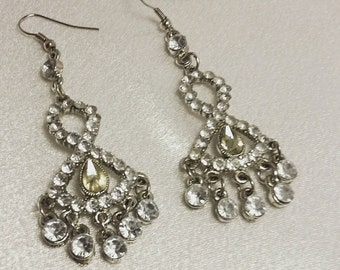Vintage 1940's Rhinestone Chandelier Silver Earrings