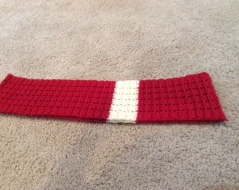 Red & Off White Crocheted Scarf
