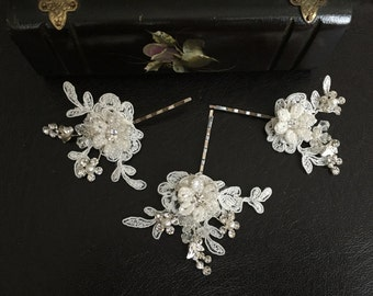 Bridal Hair Accessories, Wedding Head Piece, Ivory  Lace, Pearl, Rhinestone, Hair Pin