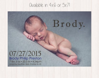 Baby Birth Announcement / Birth Announcement / Newborn Announcement / Birth Announcement Card / Digital File