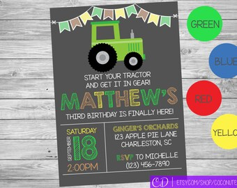 Tractor Birthday Invitation / Tractor Invite / Red, Green, Blue or Yellow