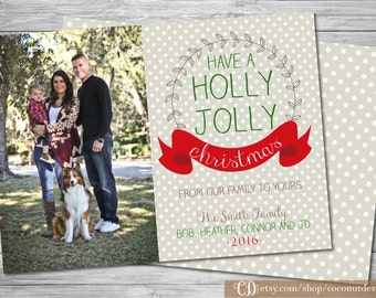 Christmas Photo Card / Holly Jolly Christmas / Holiday Photo Card / Back Side / Christmas Card / Holiday Card / Collage Card / Digital File