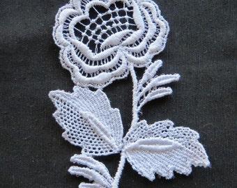 Rose with Stem Applique Venise Lace 6040