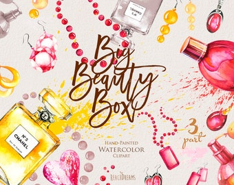 Fashion Clipart Watercolor, jewelry, bijouterie, perfume, earrings, necklace, beauty accessories DIY invites, blogs, hand painted elements