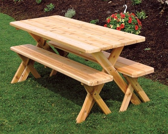 Cedar 6 Foot Cross Leg Picnic Table With 2 Detached Benches   Unfinished Or  Stained