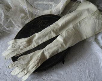French ladies leather gloves long arm warmers decorating shabby