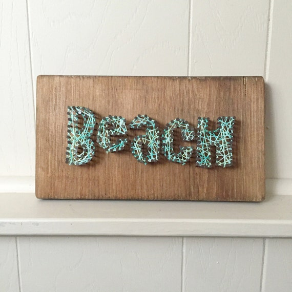 Beach string art new art cottage decor cabin art hostess for Beach cabin decor