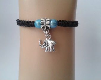 Elephant bracelet - elephant charm - elephant charm bracelet - elephant jewelry - adjustable bracelet - macrame bracelet - lucky charm