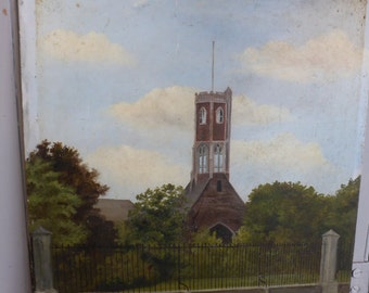 Antique oil painting of church signed B Steele dated 1893