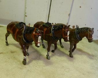 Set of 3 antique lead shire horses by Britains Ltd