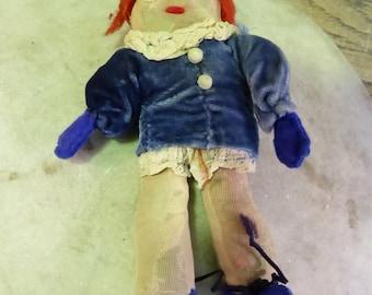 Vintage handmade toy doll one eye