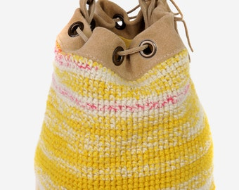 Yellow Hand Knitted Handbag | Bucket Bag | Wool Bucket Bag | Unique Handbag | Trendy Young Fun Bucket bag | Slouchy Boho Handbag | Cool bag