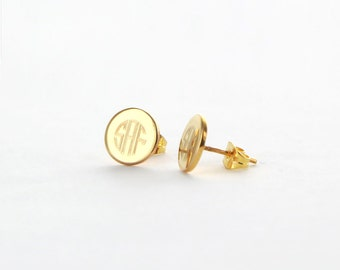 Engraved Gold Plated Stud Earring