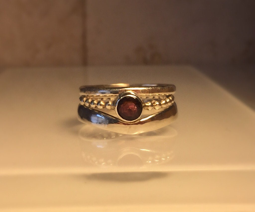 handmade gemstone ring set handmade garnet and sterling silver