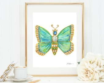 Butterfly Brooch Watercolor Rendering in Yellow Gold with Opals, Diamonds, Sapphires, and Emeralds printed on Paper