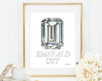 Emerald Cut Diamond Watercolor Rendering printed on Paper
